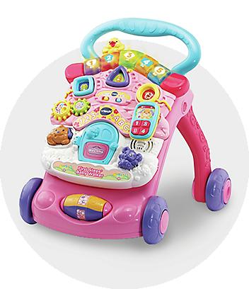 pink baby play walker
