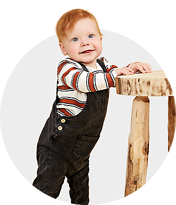 Baby Boy Standing In Overalls Set