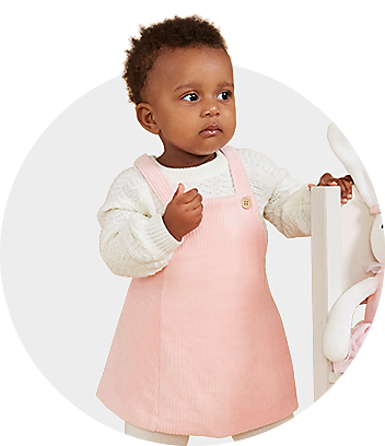 Baby Girl Standing In Pinafore Set