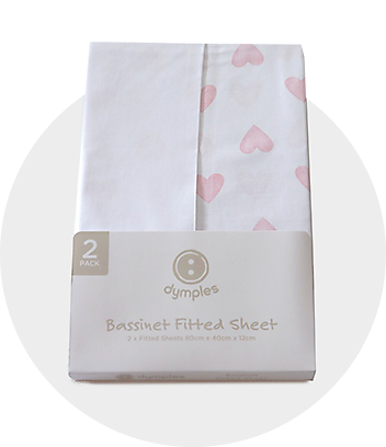 White & Pink Heart Print Bassinet Fitted Sheet
