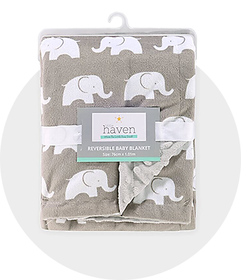 Grey Elephant Print Baby Blanket