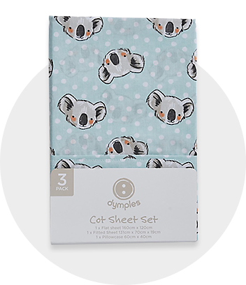 Blue Koala Print Cot Sheet Set