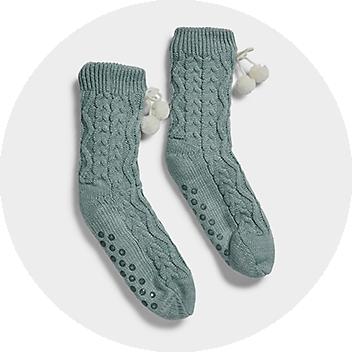 Women's Green Knit Socks