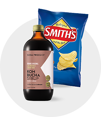 Shop snacks potato chips and drink