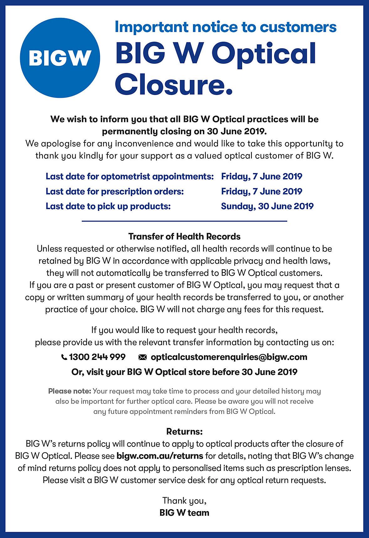 BIG W Optical Closure Notice