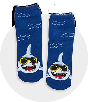Boys Blue Shark Print Socks