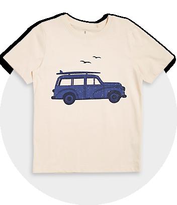 Boys Beige Car Print Tee