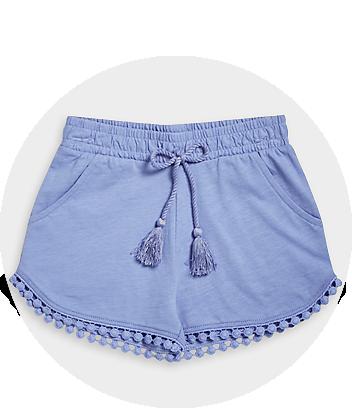 Girls Blue Pom Pom Shorts