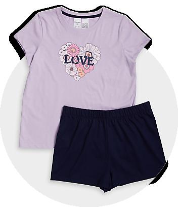 Girls Purple & Blue Pyjama Set