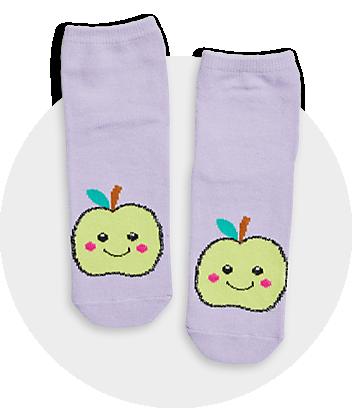 Girls Purple Apple Print Crew Socks