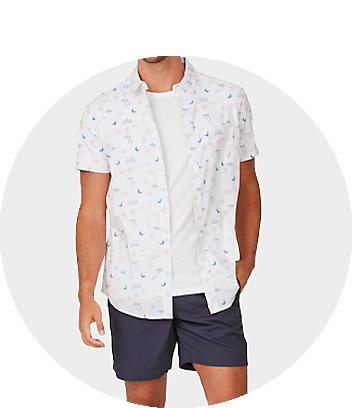 Men's White Printed Short Sleeve Shirt