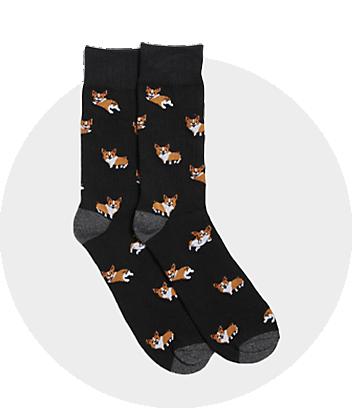Men's Black Print Socks