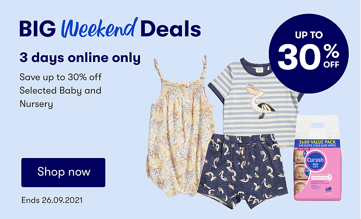 Online only, save upto 30% on selected baby. Ends 26.09.2021