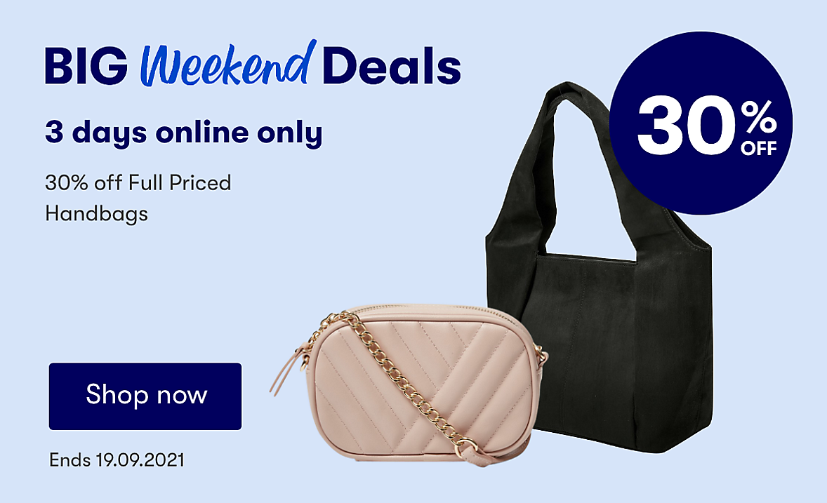 30% off Full price Handbags, online only. Ends 19.09.2021