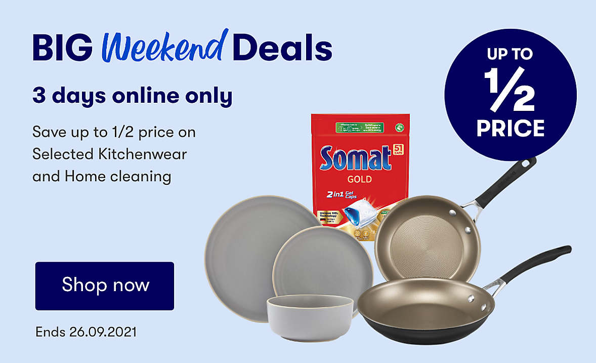Online only, upto half price on selected home. Ends 26.09.2021