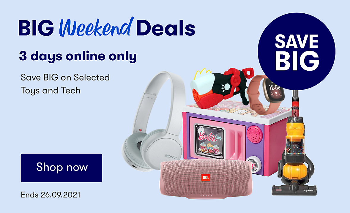 Online only, save on selected toys and tech. Ends 26.09.2021