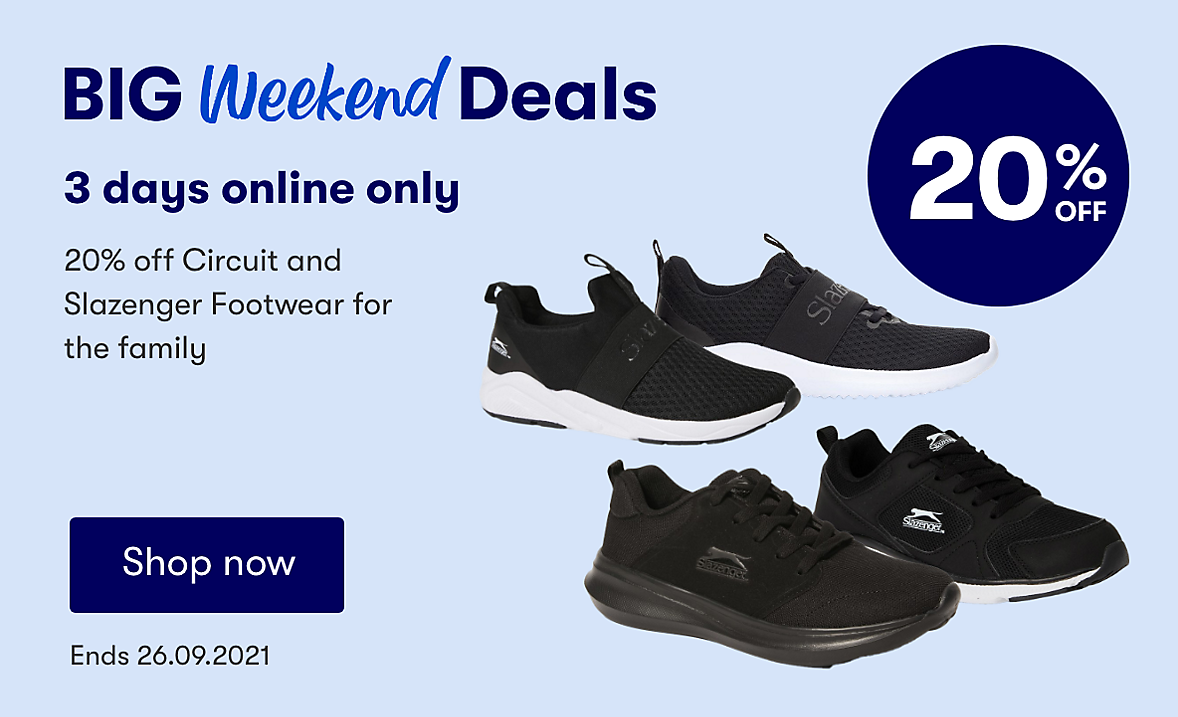 Online Only 20% off Circuit or Slazenger footwear for the family.