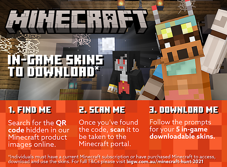 Search for the QR Code to download Minecraft in-game skins