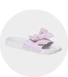 Girls Pin Stripe Slides