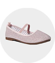 Girls Pink Glitter Ballet Flats