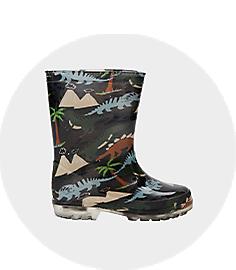 Boys Grey Print Rain Boots