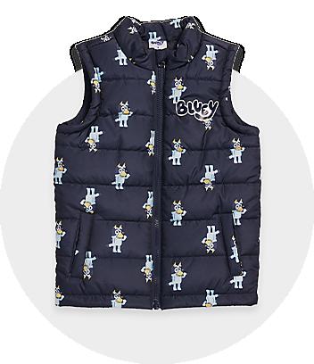 navy bluey kids puffy vest