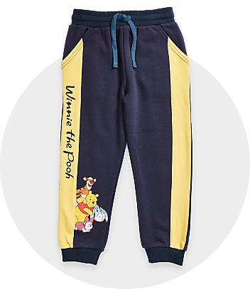 navy and yellow winnie the pooh kids track pant