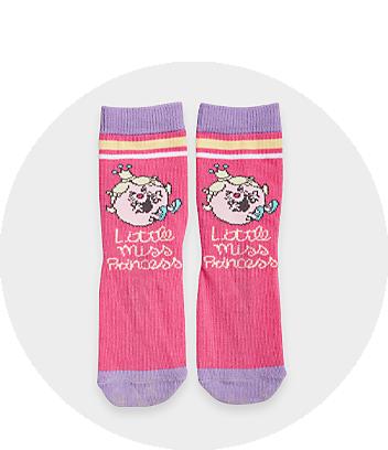pink and purple little miss socks
