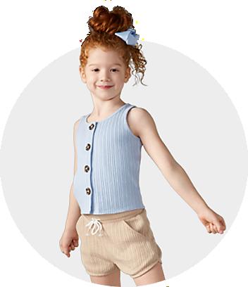Girls Blue Tank & Beige Shorts