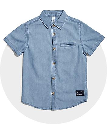 Boys Blue Denim Button Up Shirt