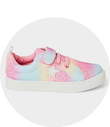 Girls Rainbow Glitter Sneakers
