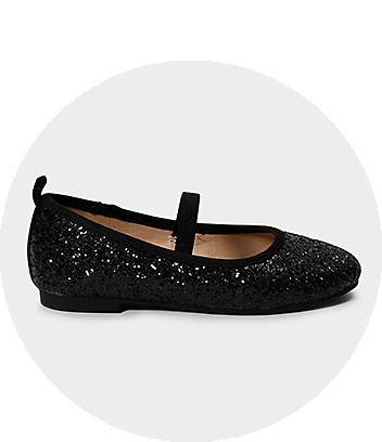 Girls Black Glitter Ballet Flats
