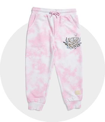 Pink & White Tie Dye Track Pants