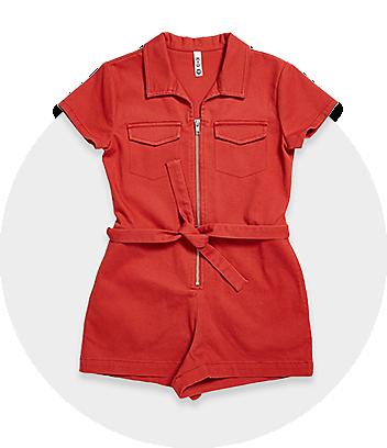 Girls Red Tie Jumpsuit