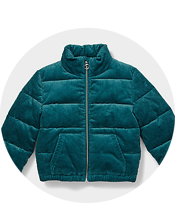 Girls Green Corduroy Puffer Jacket