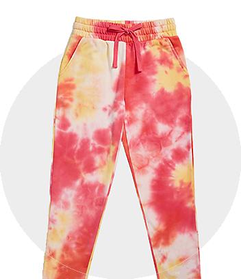 Girls Pink & Yellow Tie Dye Track Pants