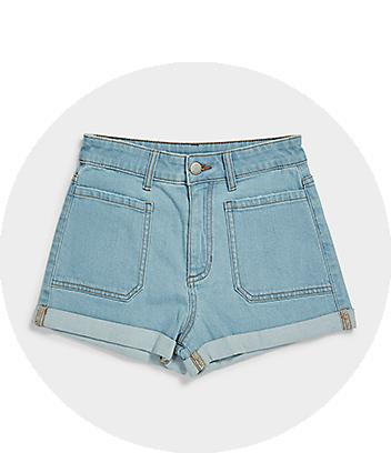 Girls Light Blue Pocket Denim Shorts