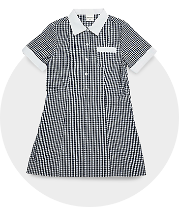 Girls Blue & White Check School Dress