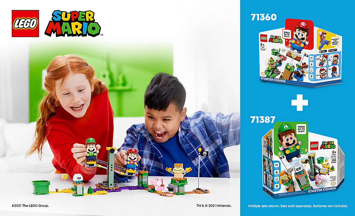 Team up and expand your LEGO Super Mario course for more play.
