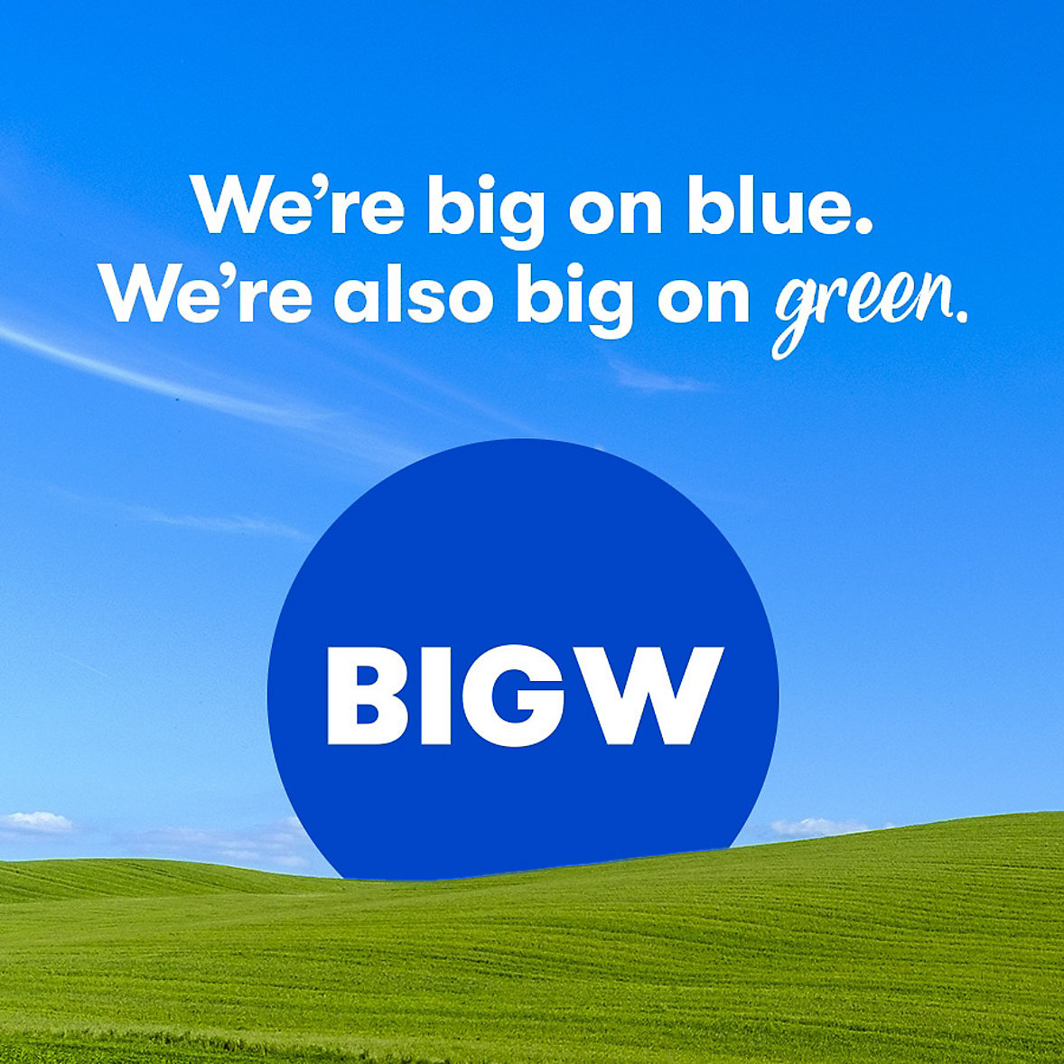 We're big on blue. We're also big on green.