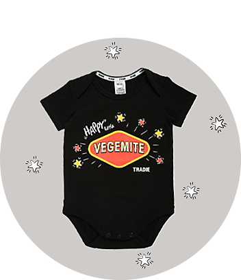 tradie baby clothing vegemite