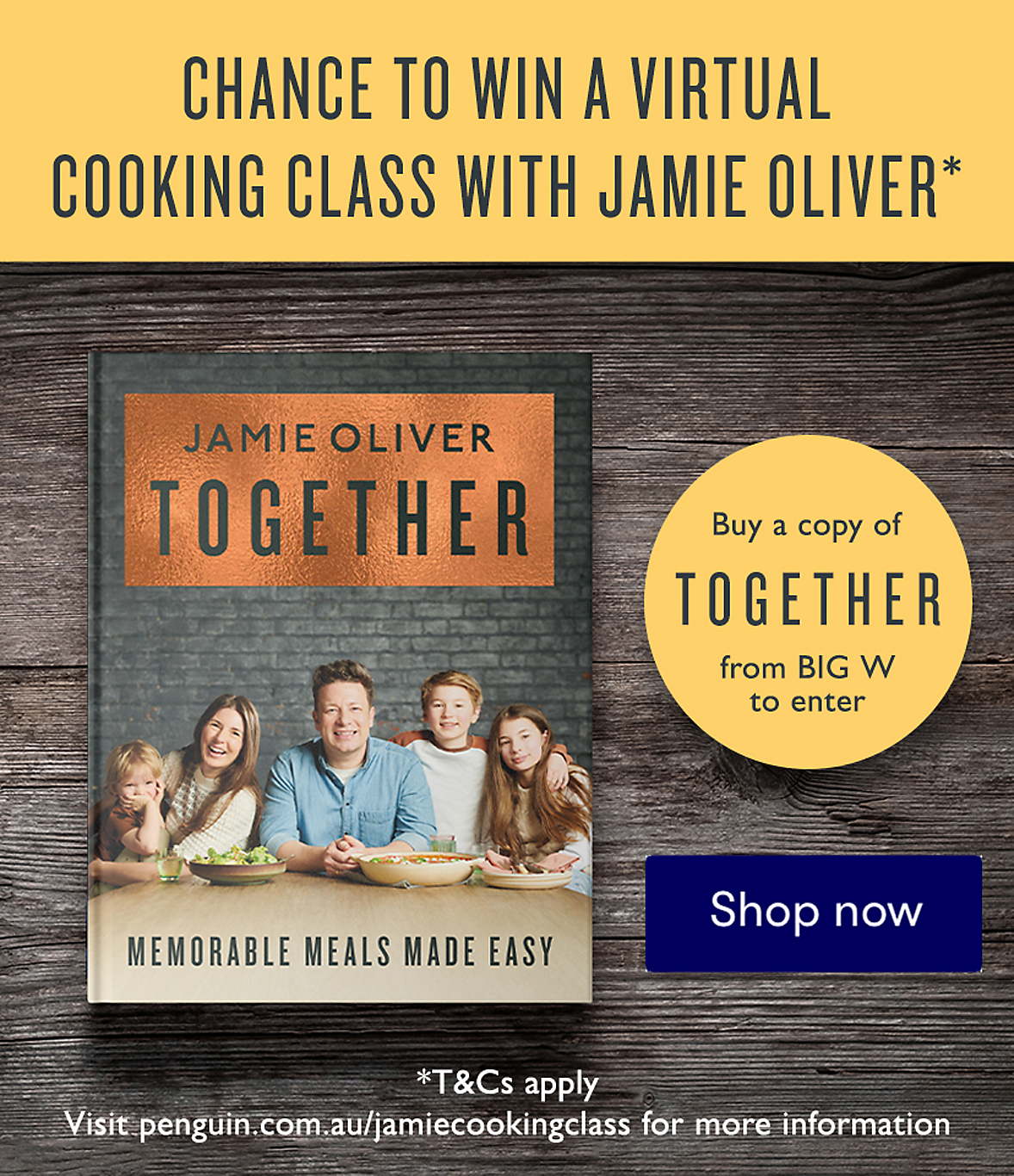 Buy Jamie Oliver's Together for your chance to win a virtual cooking class with Jamie Oliver