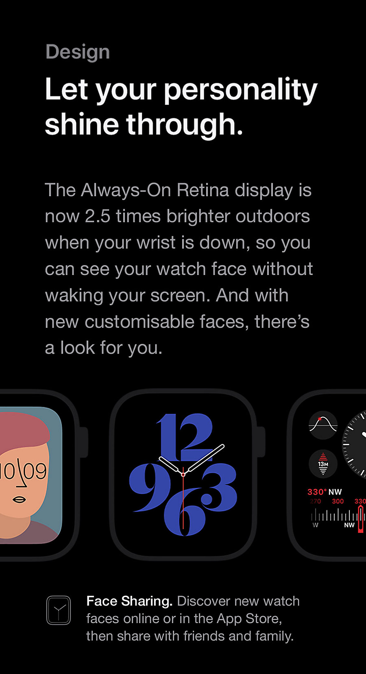 Apple Watch Series 6 Always-On Retina Display Face Sharing