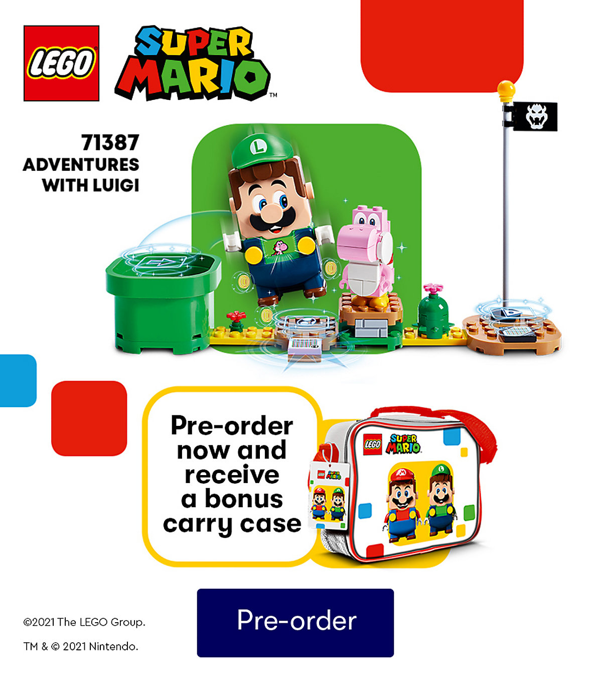 Pre-order LEGO Adventures with Luigi and get free carry case