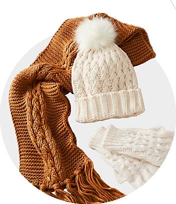 womens white beanie mustard scarf