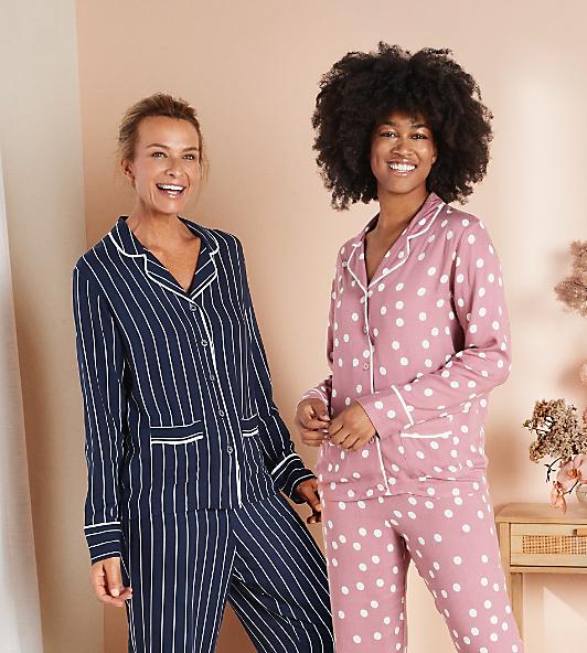 womens blue stripe and pink polkadot pyjamas