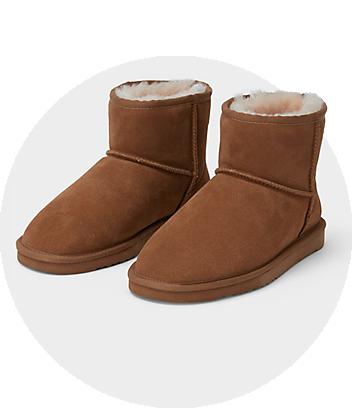 mini me sheep skin boot slippers