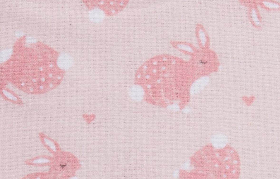 Pink rabbit print baby blanket