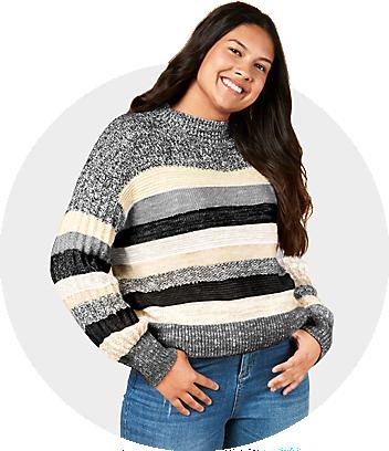 women grey black striped jumper
