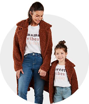 mini me brown teddy coat and white mama vibes tee